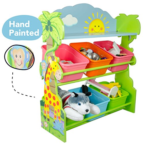 Fantasy Fields - Sunny Safari Animals Thematic Kids Wooden Toy Organizer with Storage Bins