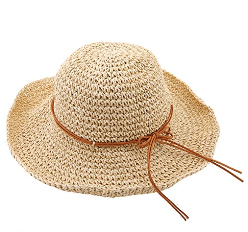 Straw Scarecrow Hat (Urban CoCo Women's Wide Brim Caps Foldable Summer Beach Sun Straw Hats (Rice))