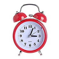 DONEE Cute Alarm Clock for kids, 3 Twin Bell Silent Non Ticking Bedside Desk Analog Quartz Movement Alarm Clock With Nightlight and Loud Alarm. (Red)