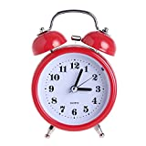 DONEE Cute Alarm Clock for kids, 3'' Twin Bell Silent Non Ticking Bedside Desk Analog Quartz Movement Alarm Clock With Nightlight and Loud Alarm. (Red)
