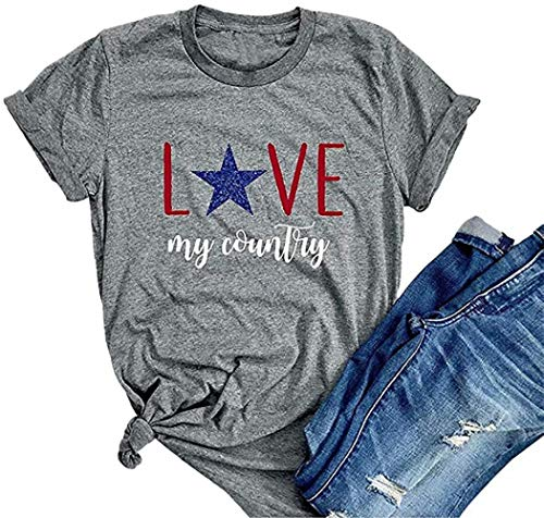 LAMOSKY Women Love My Country Patriotic T-Shirts 4th of July Independence Day Glitter Stars Top Tees Grey