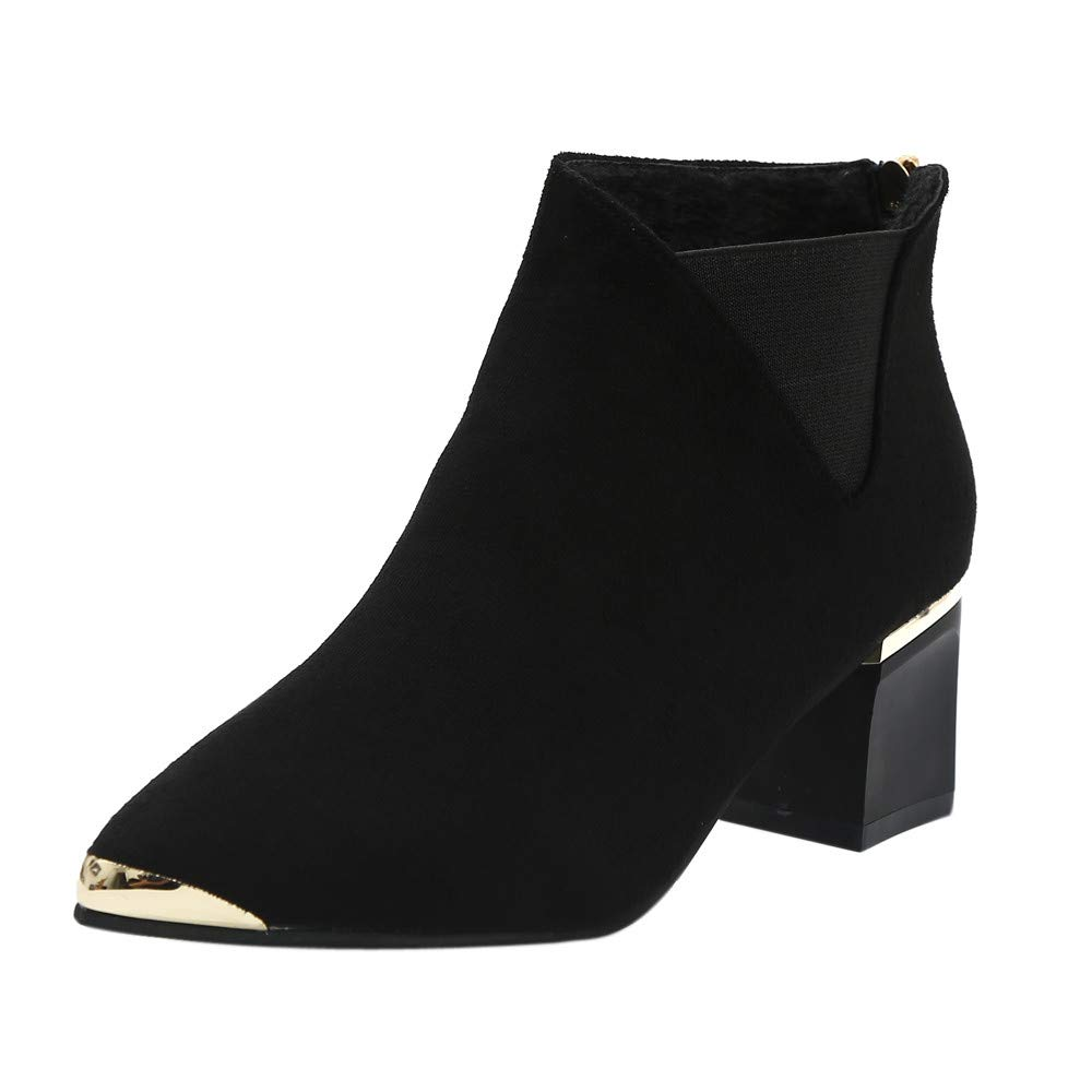 Most Gifted!!! Teresamoon Fashion Women Boots High Heels Women Ankle Boots Sexy Pointed Toe Boots by Teresamoon-Shoes (Image #1)