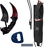 Karambit and Huntsman Knife 2 Piece Set | CSGO Skins | Karambit With Neck Knife Sheath and Sharpener | Huntsman with Whetstone and Fire Starter | Perfect Military Knife or Hunting Knife (Crimson)