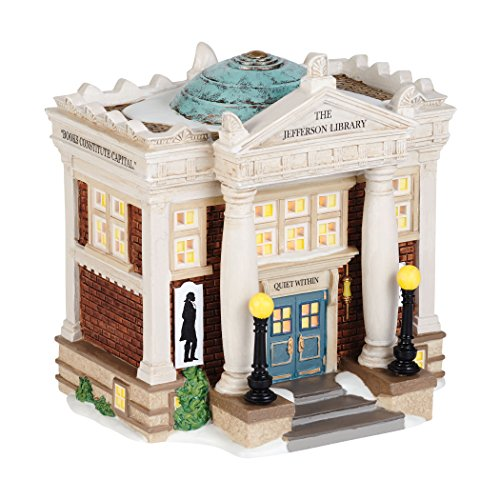 Department 56 New England Village The Jefferson Library Lit House, 6.5 inch