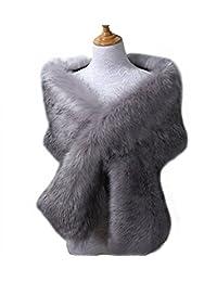Snowskite Women's Fake Faux Fur Scarf Wrap Neck Collar Wrap Winter Warm Shawl Gray