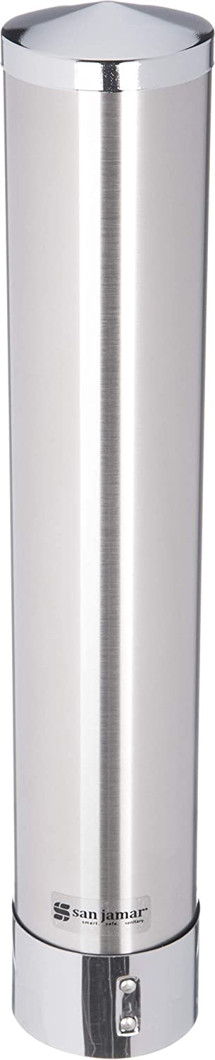 San Jamar C3000PSS Stainless Steel Adjustable Pull Type Portion Cup Dispenser, Fits 1-3/4oz to 4-1/2oz Cup Size, 1-3/4