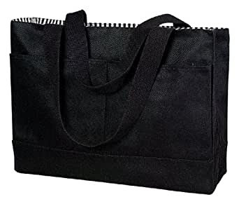 Double Pocket Canvas Tote (One Size, Black)