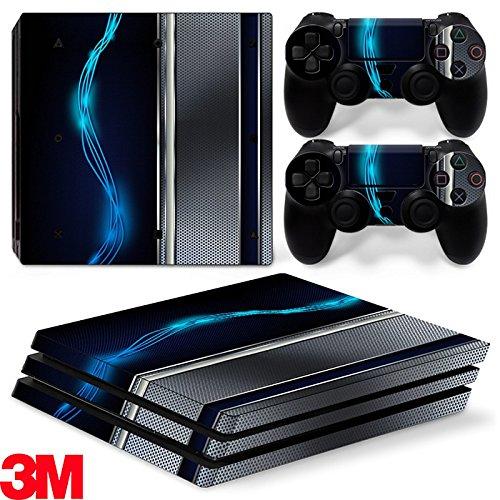 ZOOMHITSKINS PS4 Pro Skin Decal Sticker Blue Electric Custom Design + 2 Controller Skins Set
