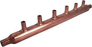 SharkBite 22788 6-Port Open Copper PEX Manifolds, 1 Inch Trunk, 3/4 Inch, 1/2 Inch Ports