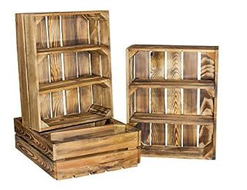 Ripiani In Legno Per Bagno : Cassetta con ripiani in legno con effetto fiammato adatta come