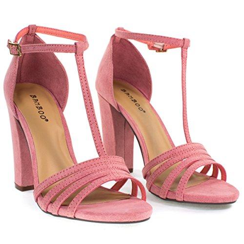 Sandale À Bout Ouvert, Bride À La Cheville, Talon Épais, Chaussures Pour Femmes Mauve