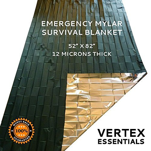 "Emergency Blanket (6 Pack), 52"" x 82"". Designed for NASA with up to 90% Heat Retention. Waterproof, Mylar Thermal Blankets for Backpacking, First Aid Kit, Bug Out Bag"