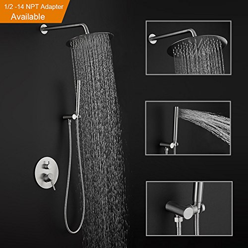 Stainless Steel Finish Wall Mounted Shower Combo Set Bathroom Luxury Rainhead Handheld 8 Inch Round Shower Heads (Handheld Showerhead System)