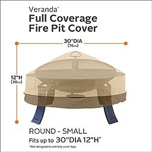 Classic Accessories Veranda Water-Resistant 30 Inch Round Fire Pit Cover