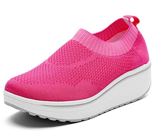 - DADAWEN Women's Slip On Breathable Walking Shoes Comfort Fitness Wedge Platform Sneakers Hot Pink US Size 11