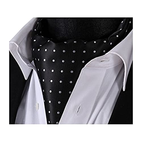 SetSense Mens Polka Dot Jacquard Woven Self Cravat Tie Ascot One Size Black / Silver