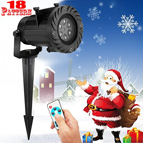 FOURCHEN Led Christmas Light Projector,2017 Newest Version Bright 6Led dynamic Landscape Projector light lamp,with 18 pattern Moving Snowflake Spotlight,Party Light for Holiday,Garden light