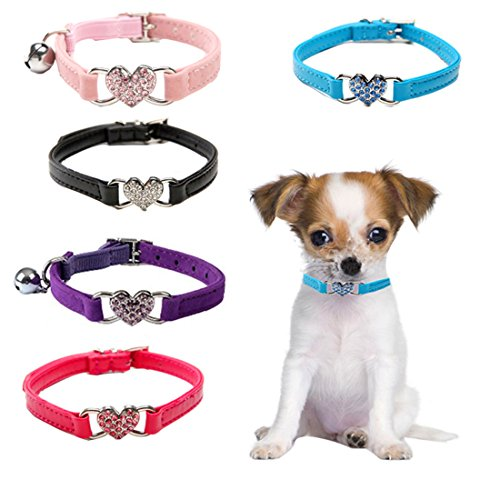 Dog Collars,5 Colors of Peach Pattern Pet Collar,Personalized Dog Collar for Cats Puppy Small Medium (Heart Pattern Personalized Heart)