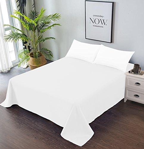 Goza Bedding Microfiber Flat Sheet (White, King)