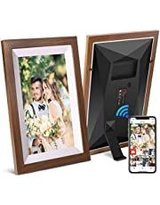 JHZL 10.1 Inch 16GB Smart WiFi Digital Picture Frame, Danish Design Frameo App Send Photos or Small Videos from Anywhere, Touchscreen, IPS 1280x800 LCD Panel (10.1 inch Solid Wood Frame)
