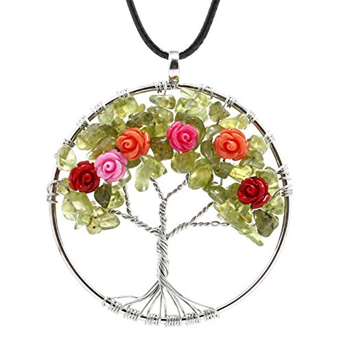 ALoveSoul Handmade Wire Wrapped Rainbow Crystal Rose Tree of Life Pendant Necklace Gift for her ()