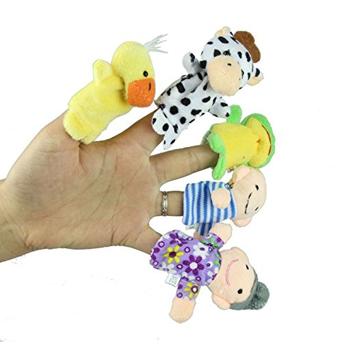[Education Toy,Baomabao Finger Puppets - 10 pcs Velvet Animal and 6 pcs Soft Plush Family Puppets] (Animals That Begin With S)