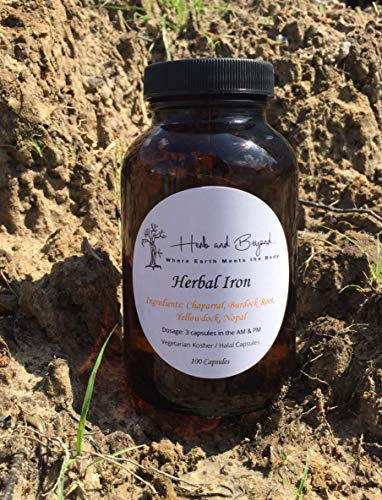 (Dr Sebi Inspired) - Herbal Iron / 100% Natural/No Chemicals / 100 Capsules (100% Natural Iron Supplement)