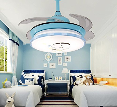 TiptonLight Blue Cute Ceiling Fans Kids with Cartoon -42 Inch with Remote with 4 Leaves-Modern Style for Bedroom,Indoor,Outdoor,Children's Room,and Living Room