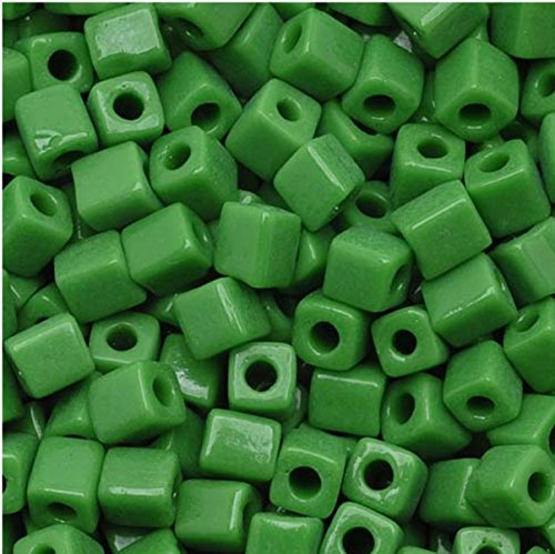 - Miyuki Cube Seed Beads Opaque Green (SB411) 4x4x4mm 250 grams