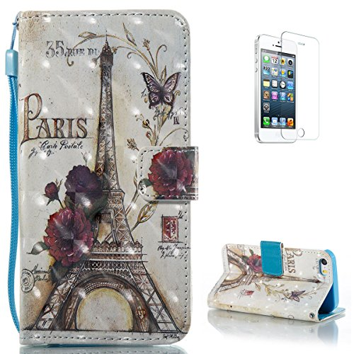 iPhone 5/5S/SE Leather Case KaseHom + [Free Screen Protector] Unique Painted Magnetic Closure Flip Wallet Pouch with Card Slot Detachable lanyard Kickstand Cover - Eiffel Tower