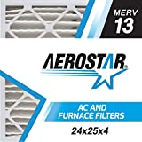 Aerostar 24x25x4 MERV 13, Pleated Air Filter, 24 x 25 x 4, Box of 6, Made in the USA