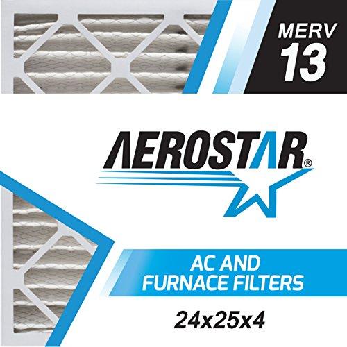 Aerostar 24x25x4 MERV 13, Pleated Air Filter, 24 x 25 x 4, Box of 6, Made in the USA