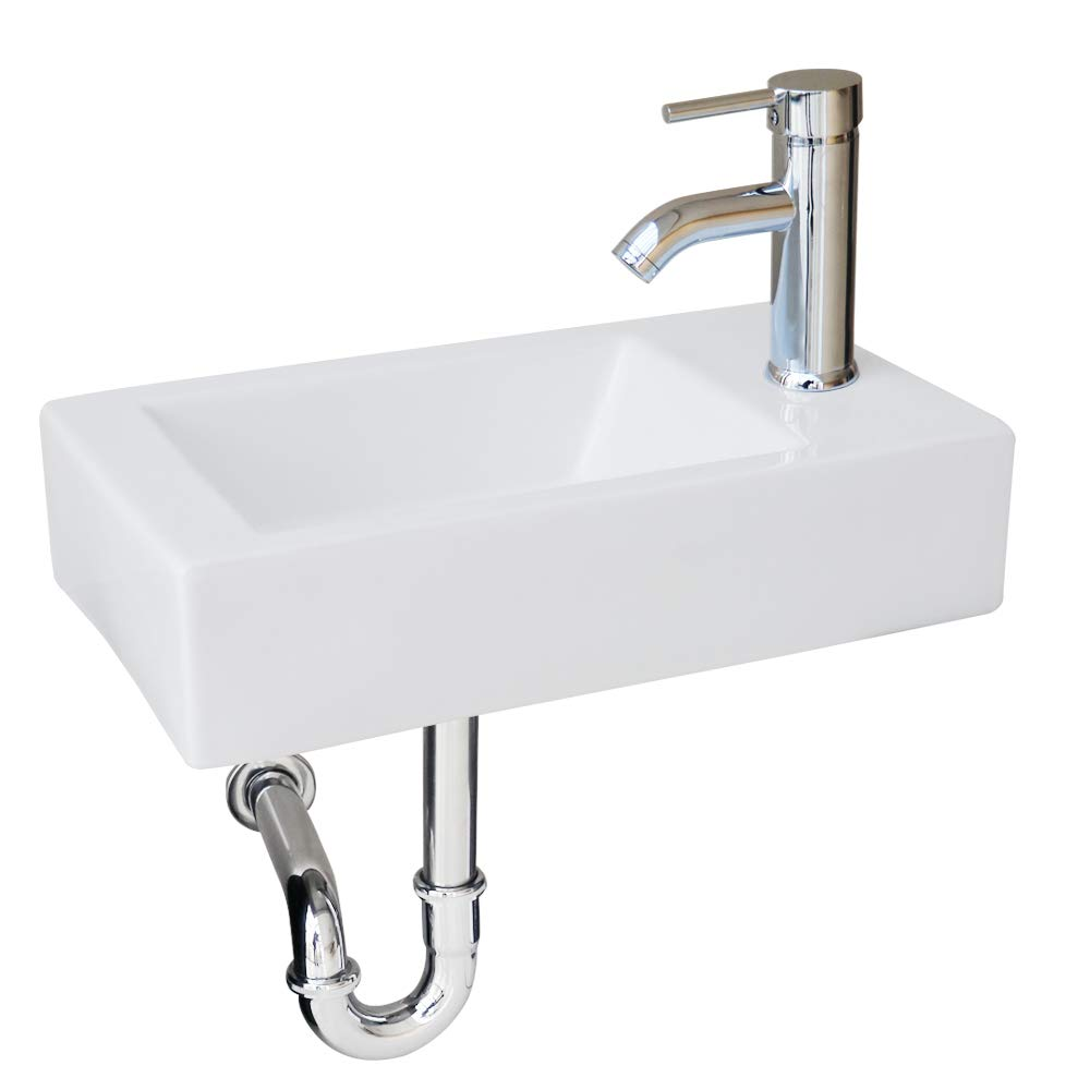 U-Eway 18.4'' Wall Mounted White Rectangle Ceramic Sink 1.5 GPM Faucet Chrome Combo Pop Up Drain Bathroom Porcelain Sink With Adjustable P-Trap