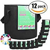 JERIA 12-Pack 5 Gallon, Vegetable/Flower/Plant Grow Bags, Aeration Fabric Pots with Handles (Black)