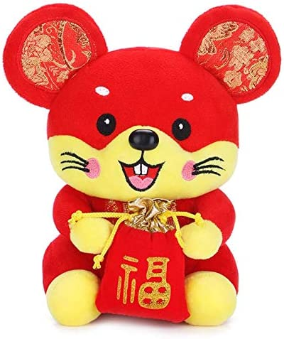 Plush Red Mascot Mouse Stuffed Animal Lucky Doll STUDYY 4 Pack Chinese New Year Red Rat Ornament Decorations Plush Red Mouse Figurines
