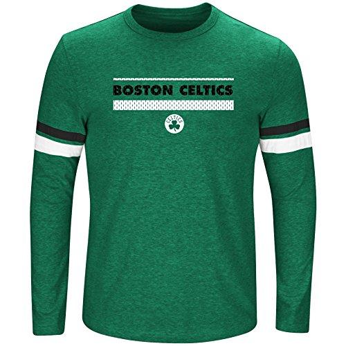 NBA Boston Celtics Long Sleeve Screen Print Tee, Kelly/Heather/Black, (Nba Black Green Stripe)