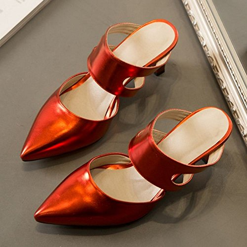 TAOFFEN Toe Closed Heels Red 1 Shoes Summer Mules Women PvqFP4