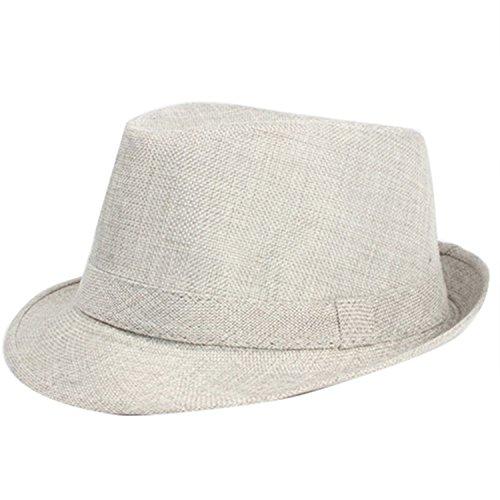 ylovego Unisex Men Women Summer Fedora Trilby Hat Gangster Panama Short Brim Cap Sunhat QH