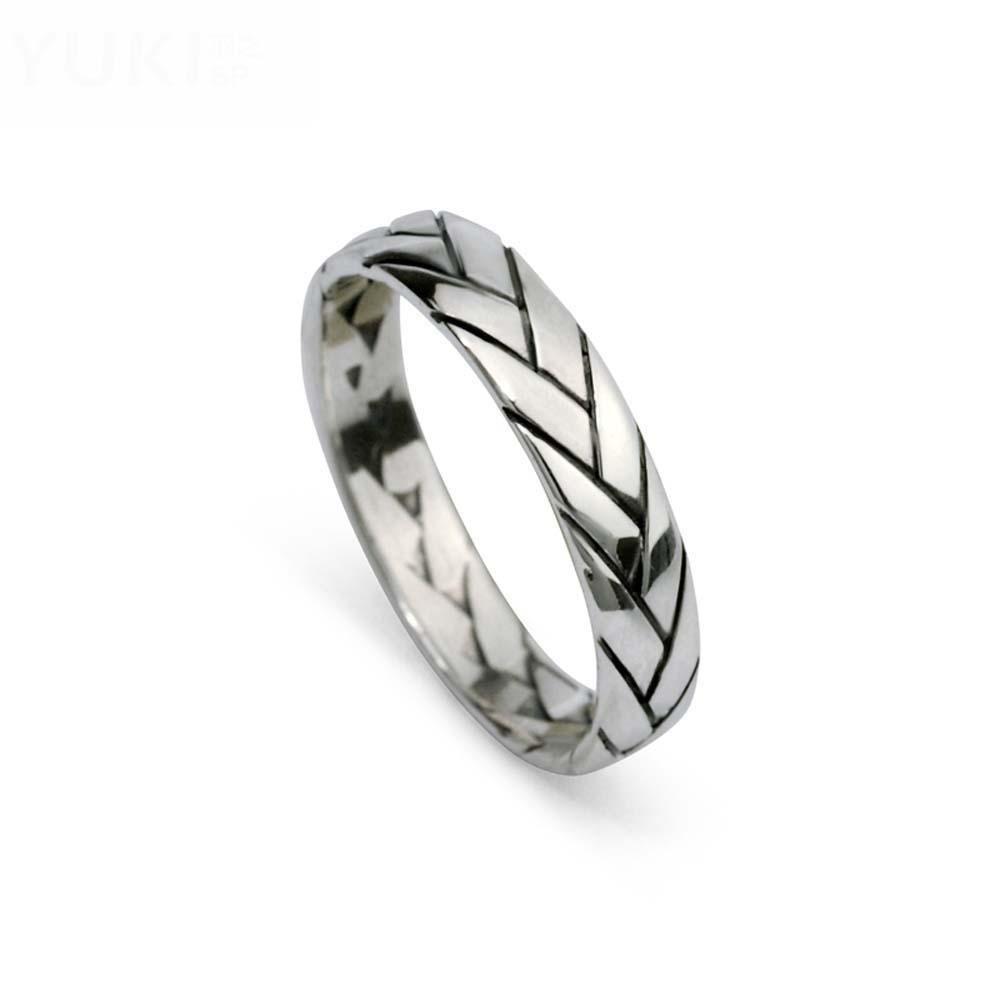 HFJ&YIE&H Joyería de plata tailandesa retro 925 anillo de anillo de personalidad de los hombres de plata anillo de anillo de personalidad pequeña tejida ...