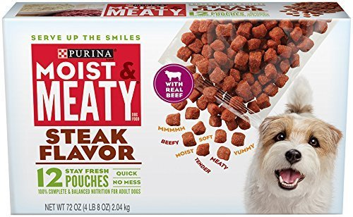 Purina Moist & Meaty Steak Flavor Dog Food 12 Stay Fresh Pouches