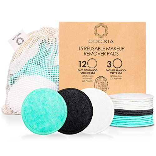 Reusable Makeup Remover Pads | Eco Friendly & Zero Waste Cotton Rounds | Beauty Products | 15 Natural & Organic Face Pads with Laundry Bag | Soft for All Skin Types | Bamboo Wipes for Facial Cleansing