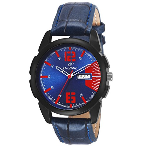 Dezine DZ GR048 BLU Day and Date Display Analog Watch For Boys And Men  Blue Dial