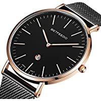 BETFEEDO Men's Wrist Watches, Black Fashion Date Slim Analog Quartz Watches with Stainless Steel Mesh Band (RG/Black)