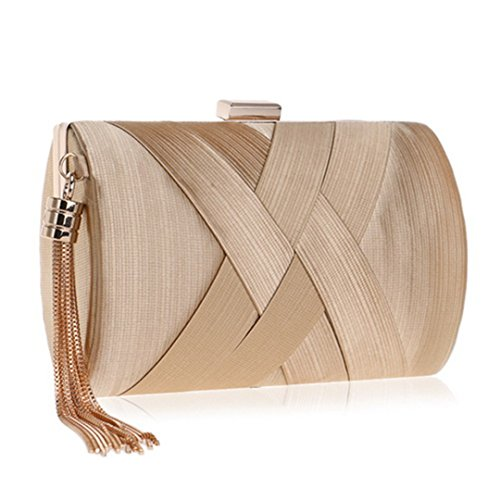 Evening Small Tassel With Shoulder Ym1215gold Clutch Day Metal Bags Bag Chain Purse Clutch zYqcnd