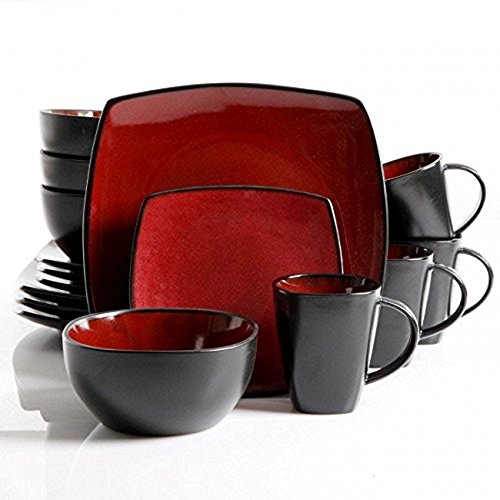 Gibson Lounge Piece Dinnerware Burgundy