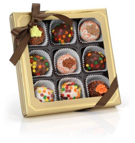 Autumn Leaves Belgian Truffle Cake Bons- Gold Gift Box of 9 (Red (Halloween Cake Red Velvet)