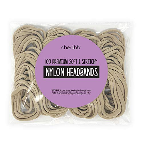 Nylon Headbands for Baby Girls - Craft DIY Hair Bows - Bulk 100 Bands (Nude)