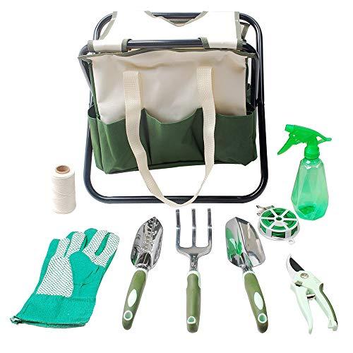 Hi-Spec Garden Folding Stool Seat & Garden Tools Set of Yard & Gardening Tools with Pruning Shears, Garden Hand Tools, Garden Storage Tote Bag/Seat & Gloves - Heavy Duty Gardening Kit (9 Piece)