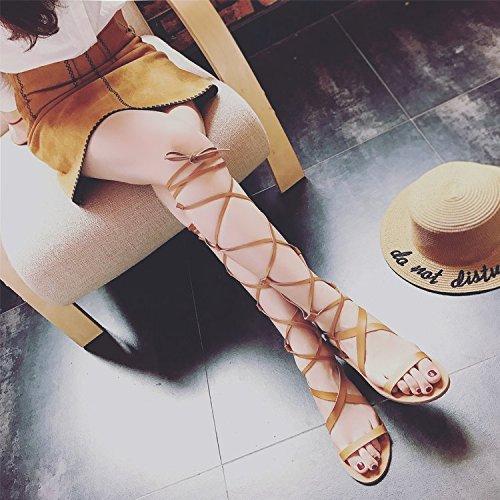 scarpe da lunghe RUGAI estiva da sandali donna e Dew white donna UE piatte Rice da donna Scarponcini 2018 punta 7rB87WaP