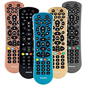 Philips Universal Remote Control for Samsung, Vizio, LG, Sony, Sharp, Roku, Apple TV, RCA, Panasonic, Smart TVs, Streaming Players, Blu-ray, DVD, Simple Setup, 6 Device, Blue, SRP6249B/27